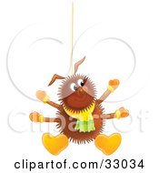Clipart Illustration Of A Happy Hairy Brown Spider Wearing A Scarf Boots And Mittens Suspended From A String
