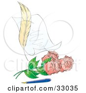 Clipart Illustration Of A Feather Beside A Love Letter With Pink Roses And An Old Fashioned Ink Pen