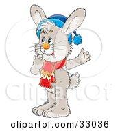 Clipart Illustration Of A Gray Bunny Wearing A Blue Hat And Red Scarf Touching His Chin And Thinking by Alex Bannykh