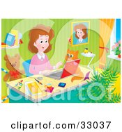 Clipart Illustration Of A Stay At Home Mom Working At Her Desk On A Laptop In Her Home Office A Cat Beside Her by Alex Bannykh