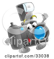 Clipart Illustration Of A Happy Digital Camera With A Flash Attachment Waving