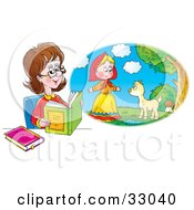 Clipart Illustration Of A Woman Reading A Book And Imagining That She Is In The Story