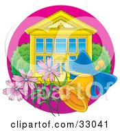 Clipart Illustration Of A Ringing Bell And Pink Flowers In Front Of A School Building With Blue Windows