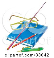 Clipart Illustration Of A Teachers Glasses Resting On A Pointer Stick On A Book With A Pencil And Pen by Alex Bannykh
