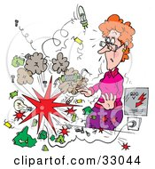 Clipart Illustration Of An Explosion Shocking A Female Teacher by Alex Bannykh