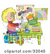 Clipart Illustration Of A School Girl Conducting A Science Experiment In A Lab