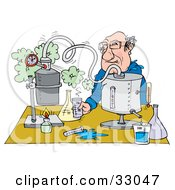 Clipart Illustration Of A Male Teacher Conducting A Science Experiment At A Table by Alex Bannykh