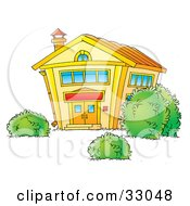 Clipart Illustration Of Bushes In The Yard Of A Yellow School