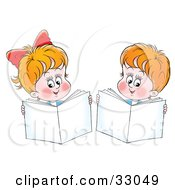 Clipart Illustration Of A Little Boy And Girl Holding Up Books While Reading