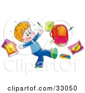 Clipart Illustration Of A Happy Little Boy Tossing His School Supplies Into The Air