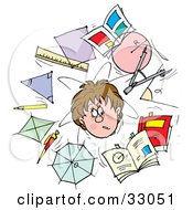 Clipart Illustration Of A Confused School Boy Surrounded By Shapes Rulers Pencils And Books by Alex Bannykh