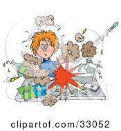 Clipart Illustration Of A Shocked School Girl Conducting A Chemistry Experiment While Her Chemicals Explode