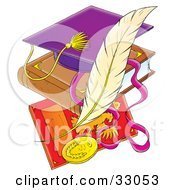 Clipart Illustration Of A Purple Graduation Cap On A Book Over A Plaque With A Feather