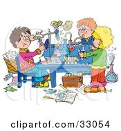 Clipart Illustration Of A Group Of School Children Conducting Science Experiments