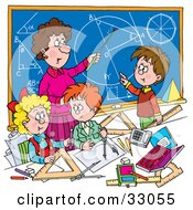 Clipart Illustration Of A Female Math Teacher Teaching School Students Geometry And Algebra by Alex Bannykh