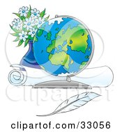 Clipart Illustration Of A Globe On A Table In Front Of A Rolled Map Vase Of Flowers And A Feather