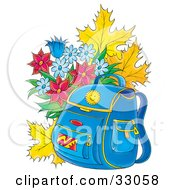 Blue Backpack Resting In Front Of Autumn Leaves And A Bouquet Of Flowers