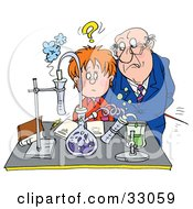 Clipart Illustration Of A Stern Science Teacher Staring At A Confused School Boy In A Science Lab by Alex Bannykh