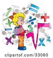 Clipart Illustration Of A Smart School Girl Surrounded By Math Symbols