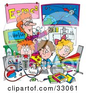 Clipart Illustration Of A Female Teacher Discussing The Solar System And Spectrum With Children