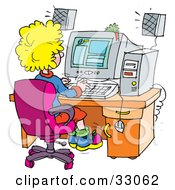 Clipart Illustration Of A School Girl Using A Computer In A School Lab by Alex Bannykh
