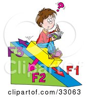Clipart Illustration Of A School Boy Sitting On A Slanted Triangle Doing His Math Homework by Alex Bannykh