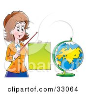 Clipart Illustration Of A Friendly Female Teacher Holding A Blank Sign And Pointer Stick And Standing By A Globe by Alex Bannykh