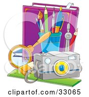 Clipart Illustration Of A Camera By A Cup Of Pens With An Eraser Ruler And Magnifying Glass In Front Of A Purple Book