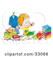 Clipart Illustration Of A Happy School Boy Surrounded By His School Stuff