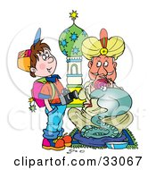 Clipart Illustration Of A School Boy With A Camera Watching A Snake Charmer