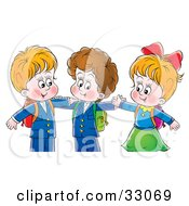 Clipart Illustration Of Two Little Boys And A Girl Hugging