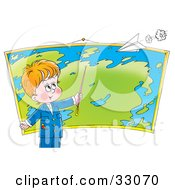 Smart Little Boy Pointing To A Location On A Map In Geography Class A Paper Airplane Flying Above