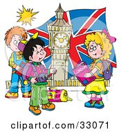 Clipart Illustration Of A Group Of Children Touring London Admiring Big Ben