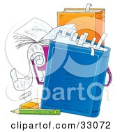 Clipart Illustration Of A Group Of Teachers Notes And Books With Tabbed Pages An Eraser And Pencil by Alex Bannykh