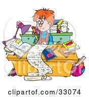 Smart School Boy Writing A Long Story At A Desk