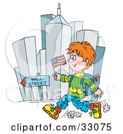 Clipart Illustration Of A School Boy Running Down Wall Street With A Flag