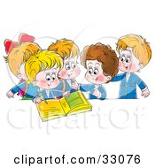 Clipart Illustration Of A Group Of School Children Signing A Photo Album