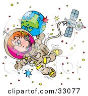 Clipart Illustration Of A Boy Floating In Outer Space As An Astronaut