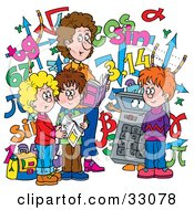 Clipart Illustration Of A Female Math Teacher And Students With A Calculator And Numbers by Alex Bannykh #COLLC33078-0056