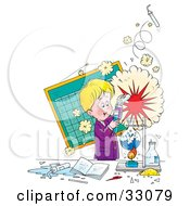 Clipart Illustration Of A Little Boy Creating An Explosion During A Science Experiment