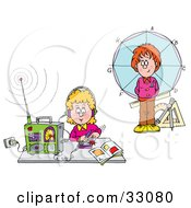 Clipart Illustration Of A Boy Standing In Front Of A Circle And Girl Listening To A Radio