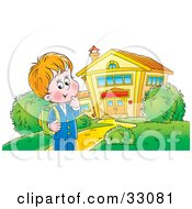 Clipart Illustration Of A Happy School Boy Standing Outside A Building