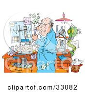 Clipart Illustration Of A Thinking Male Teacher Working In A Science Lab by Alex Bannykh