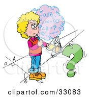 Clipart Illustration Of A School Girl Trying To Figure Out A Math Problem by Alex Bannykh