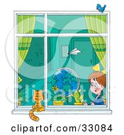 Clipart Illustration Of A Paper Plane Flying Past A School Girl In A Classroom As She Looks Out A Window At A Cat by Alex Bannykh