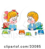 Clipart Illustration Of A Boy And Girl In Uniforms Sitting With Flowers And Books And Smiling At Each Other