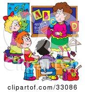 Clipart Illustration Of A Female School Teacher Teaching Students The Alphabet by Alex Bannykh #COLLC33086-0056