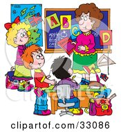 Clipart Illustration Of A Female School Teacher Teaching Students The Alphabet by Alex Bannykh