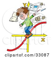 Clipart Illustration Of A School Boy Riding Down A Red Line On Arrows Tossing Books And Pens by Alex Bannykh