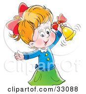 Clipart Illustration Of A Cute Little Girl Ringing A Golden Bell